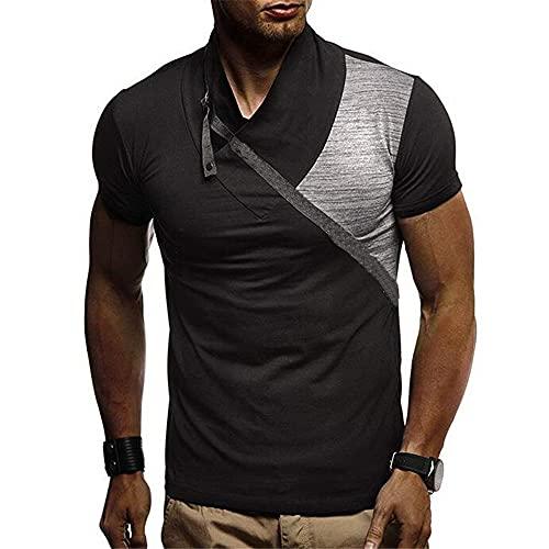 Casuales Camisas Hombre Moderna Moda Empalme Slim Fit Hombre Shirt Verano Personalidad Cuello V Diseño Hombre Manga Corta Diaria Casual All-Match Camiseta