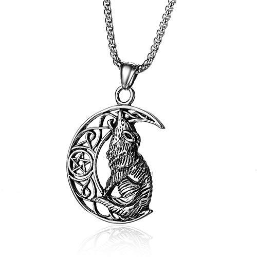 Colgante Vikingo Nórdico con Personalidad De Lobo Y Luna Collar De Acero Inoxidable con Cadena...