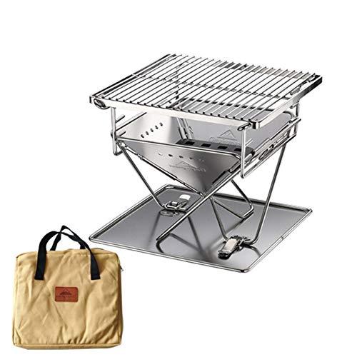RM-WANGLUO-HZ Bequem Und Praktisch Tragbarer Edelstahl Grill Grill Klappbares Outdoor Camping Picknick Grillwerkzeug (Color : Silver)