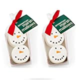 Snowman Marshmallow 2.5 Oz Pack Of 2! Hot Cocoa Topping Marshmallows! Decorated By Hand With Belgian Chocolate! Delicious Hot Chocolate Marshmallow Toppers! Sweet Little Gift Or Stocking Stuffer!