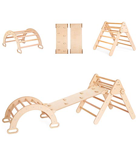 smartwoodstore Small Climbing Triangle Set, Arch + Ramp + Foldable Triangle, Montessori Toddler, Baby Toys, Activity Gym, Waldorf Furniture (Small Size)