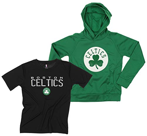 Outerstuff NBA Youth Boys (8-20) Team Hoodie and Tee Combo Set, Boston Celtics, Large (14-16)