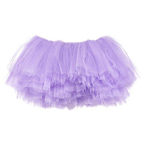 My Lello Big Girls 10-Layer Short Ballet Tulle Tutu Skirt (4T-10yr) -Light Lavender
