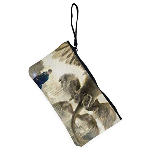 shibeili Fantastic Beasts and Where to Find Them Coin Purses Canvas Zipper Make Up Pouches with Wristlet Strap Cellphone Purse