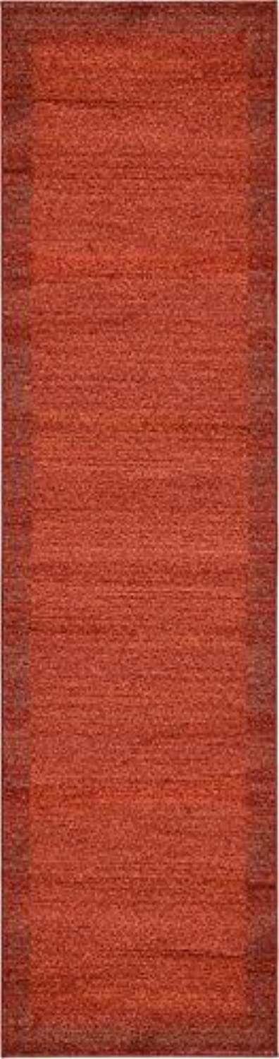 Unique Loom Del Mar Collection Contemporary Transitional Terracotta Runner Rug (3' x 10')