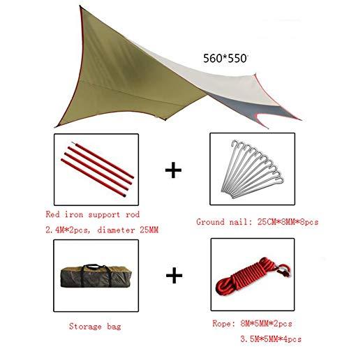 JIANFEI Camping Tarpaulin Tent Tarp Shelter Luifel Hangmat Wilderness Avontuur Strand Tent Waterdicht, 2 Maten 560x550cm A