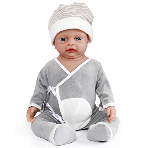 Vollence Muñeco bebé Reborn Realista de 46 cm. Libre de PVC. Muñeco bebé Realista con Cuerpo Completo Lleno de Silicona. Hecho a Mano. Muñeco de Silicona Suave y Natural con Ropa – Chico