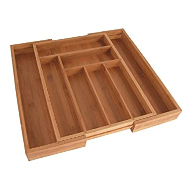 Totally Bamboo Large Expandable Cutlery Tray & Drawer Organizer - 8 Compartments and 2 Adjustable Dimensions + Additional Compartments ; Designed in US
