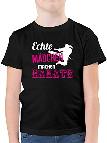 Shirtracer Sport Kind - Echte Mädchen Machen Karate - 152 (12/13 Jahre) - Schwarz F130K - Kinder Tshirts und T-Shirt für Jungen