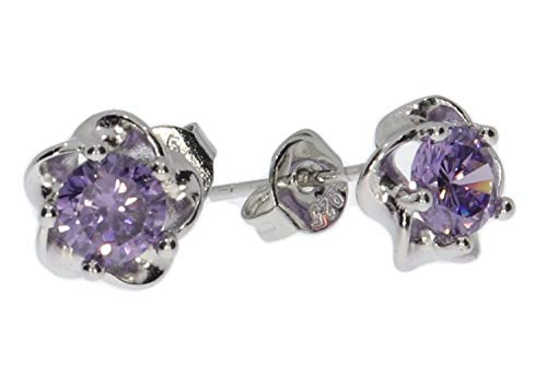 Pendientes con diseño de flores y circonitas, color lila, plata de ley 925, portalámparas HS1110