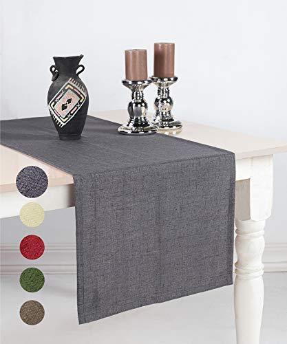 pamuq® Tischläufer Leinen-Optik | 48x160 cm | div. Farben | abwaschbar & fleckenabweisend | Tischdecke Table Runner Läufer Tisch-Deko Tischband Tafeltuch Tischtuch Tischwäsche
