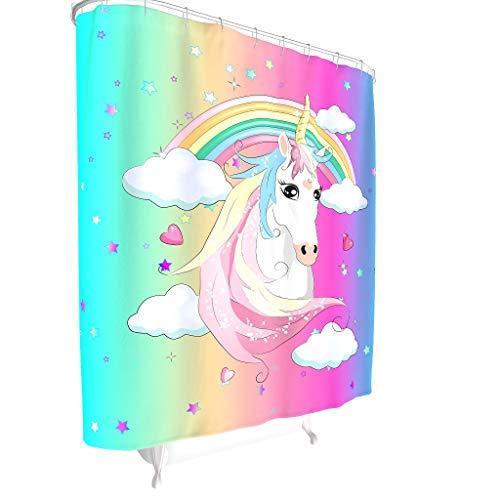Dofeely Douchegordijn, unicorn patroon, modern, kleurvast, gordijn voor badkuip met incl. douchegordijnringen