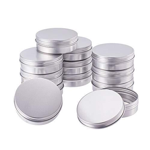 BENECREAT 12 Pack 100ml Lata de Aluminio Caja de Aluminio Redondas con Tapa de Rosca Contenedores Metálicos - Ideal para Almacenar Especias, Dulces, Té o Pastillas (Platino)