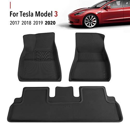 Farasla Floor Mats for Tesla Model 3 - Premium All Weather Anti-Slip Floor Liners - Compatible with 2017, 2018, 2019, 2020 Models (3 Pieces/Set)
