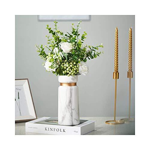 [Wall & Oak] Marmor Vase Marbl - Elegante und Dekorative Blumenvase aus hochwertigem Keramik mit Marmor-Optik und Goldenem Ring