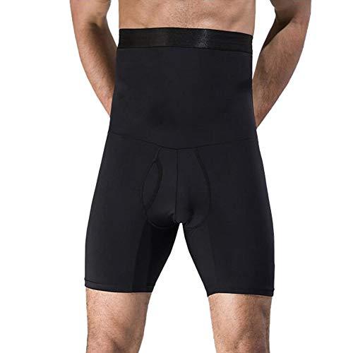 Herren Shapewear Slimming Unterwäsche Slips Herren Bauchweg Shorts Hohe Taille Männer Body Shaper Slips mit offenem Hosenschlitz - Schwarz - US XL (Taille 102/112 cm)