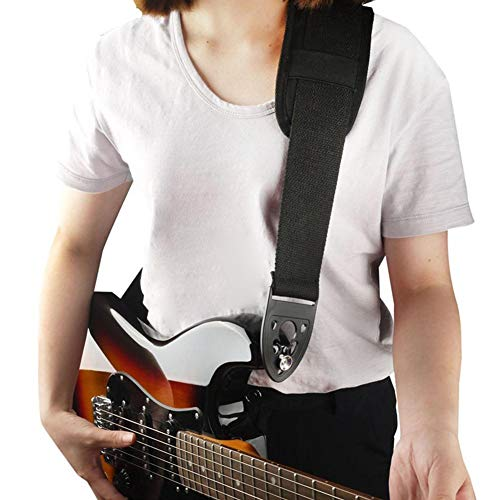 エレクトリックギター用ストラップ、コットンベルト+プラスチック製ファストロックベースギターストラップ、快適なショルダーパッド付き、エレキギター用