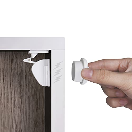 Cupboard Locks for Children, 12 Magnetic Locks 3 Keys 3M Adhesive Easy Install No Drill, Child Cabinets Drawer Locks for Baby Safety Baby Proofing