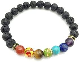 SODIAL Pulsera de curacion de 7 chakras Pulsera de amuleto para hombres y mujeres piedras de oracion de Buda Reiki abalorios de lava negra