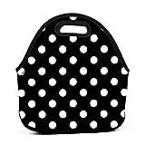 White Black Polka Dot Neoprene Lunch Bag Tote Bag Lunch Organizer Thermal Lunch Holder Reusable Lunch Box Insulated Lunch Cooler Bag for Women Men Kids Picnic Work School