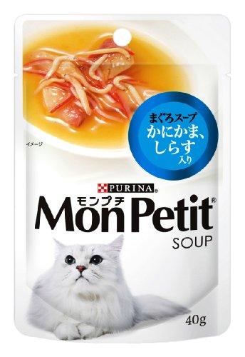 モンプチ スープ パウチ 成猫用 かにかま、しらす入り まぐろスープ 40g×12袋入り (まとめ買い) [キャットフード]