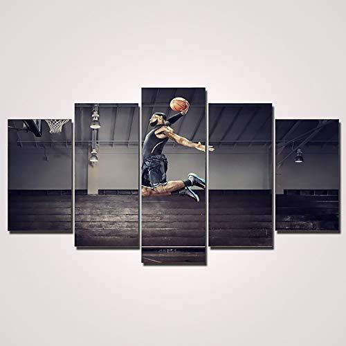 HT& Lebron James Play Basketball Druck auf Leinwand, Poster für Wohnzimmer, Fitnessstudio, 5 Stück, B, 40×60×2+40×80×2+40×100×1