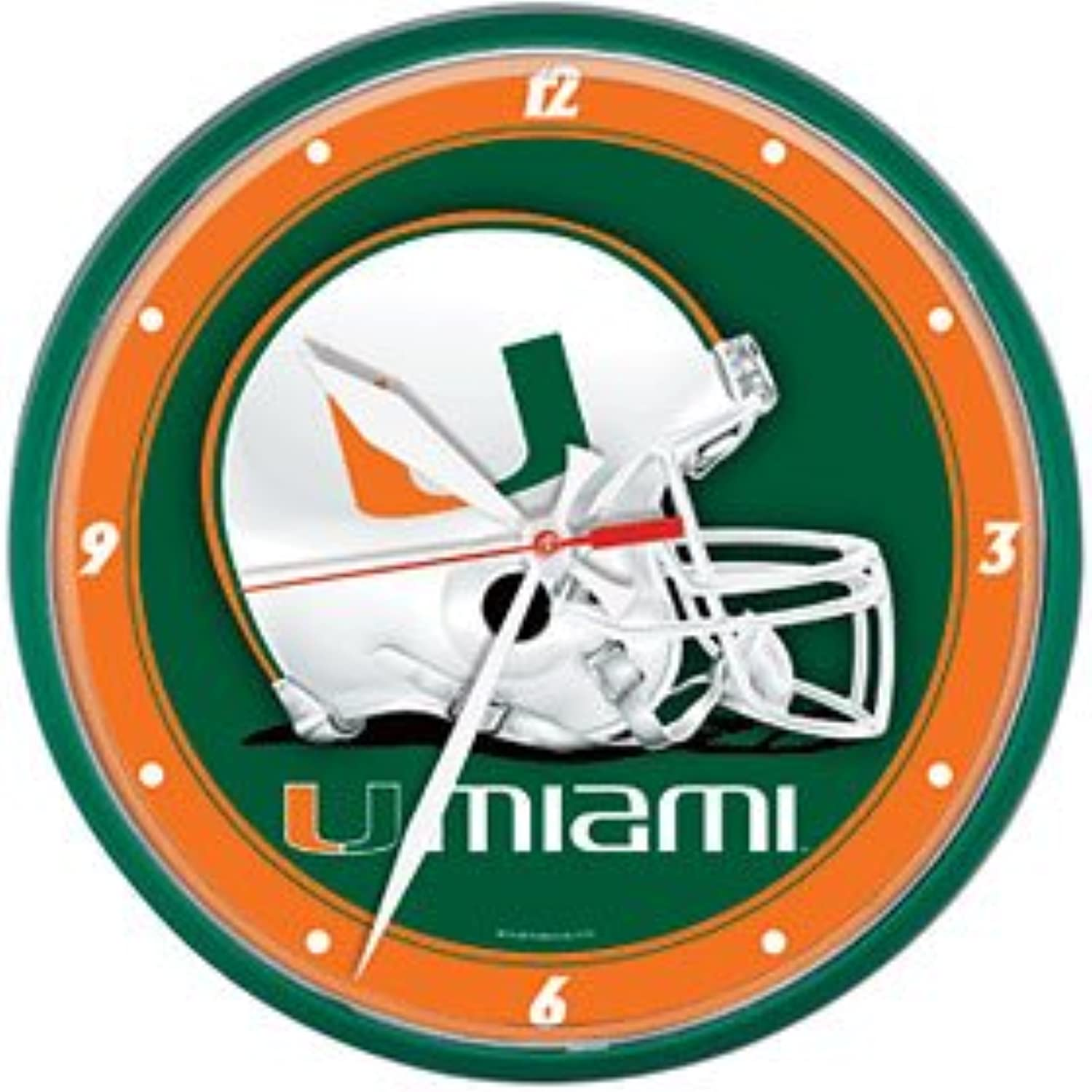Wincraft NCAA University of Miami (Florida) Round Wall Clock, 12.75Inch