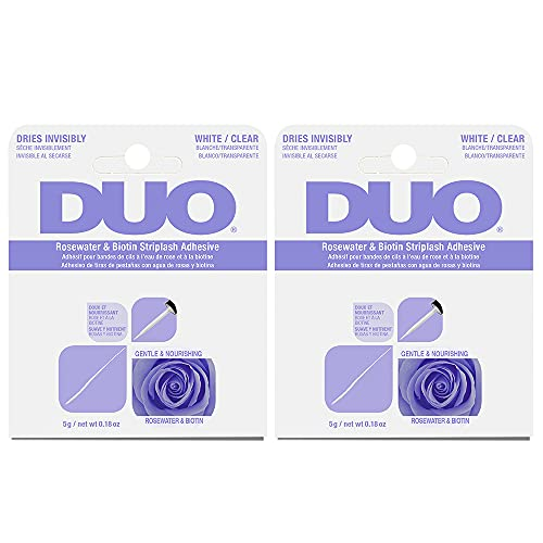 DUO Rosewater & Biotin Striplash Adhesive - Clear 5 g/net wt 0.18 oz, 2-Pack (0.18 Ounce Net)