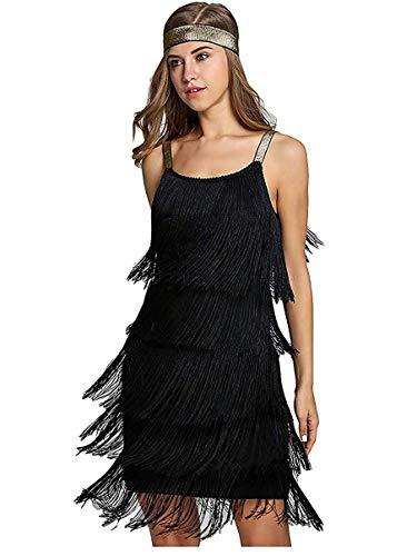 L'VOW Vestido para mujer de los años 20, con flecos, con cinta para la cabeza Negro XXL