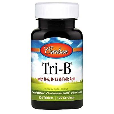 Carlson - Tri-B, Vitamin B Complex, 25 mg Vitamin B-6, 400 mcg Vitamin B-12, Folic Acid Energy Pills, Promote Cardiovascular Health, B Complex Vitamins, B12 Supplement, B Vitamin Complex, 120 Tablets
