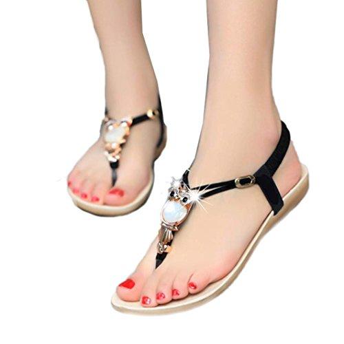 Han Shi Fashion Sandals, Women Rhinestone Clip Toe Beach Shoes Boho Flip Flops (Black, 6.5)