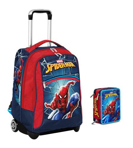 Mochila escolar con ruedas de Spiderman de la colección Marvel + estuche de 3 pisos completo + 7 bolígrafos con disparador borrable con llavero juego cubo y bolígrafo multicolor perfumado