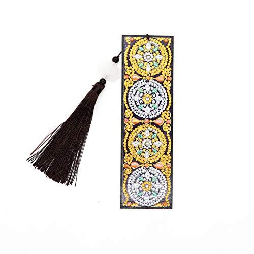 Kit di Segnalibro 5D Fai Da Te per Pittura a Mosaico con Perline Mandala per Adulti e Bambini con Strass Ricamati su Tela per Progetti Artistici Regalo Segnalibri Colorati 20 x 6 cm