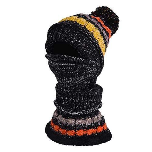 HuaCat Damen Herbst und Winter Mützen sowie Samt farblich passende Strickmütze Latzmaske dreiteilige Fahrrad warme Dicke Wollmütze