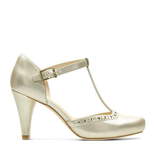 Clarks Damen Dalia Leah T-Spangen Pumps, Silber (Champagne Leather), 41.5 EU