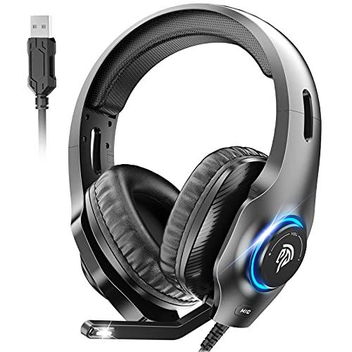 EasySMX USB Gaming Headset, PS5 Headset, 7.1 Surround Sound Stereo Gaming Kopfhörer für PS4, PC Games, Over-Ear Gamer Headphones mit Mikrofon