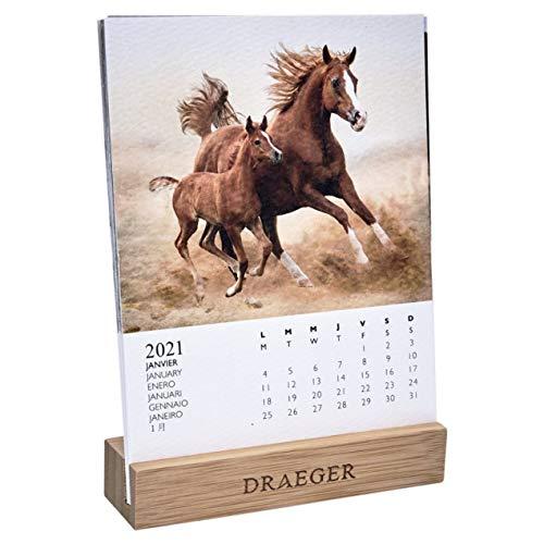 ドレジャー 2021年 デスクカレンダー HORSES(卓上タイプ) 馬 動物 かわいい 競馬 写真 月曜始まり フランス製 中国印刷