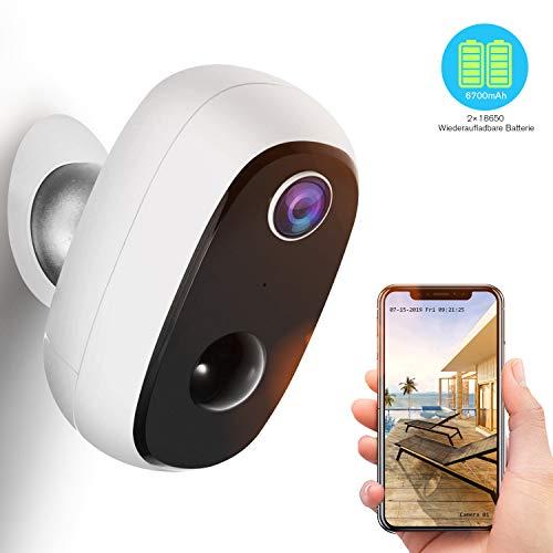 Überwachungskamera Akku,1080P Kabellos Outdoor WLAN IP Kamera mit PIR-Bewegungserkennung,2-Wege-Audio,Nachtsicht,integrierter SD-Steckplatz,IP65 wasserdichte