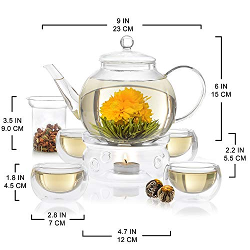 Teabloom Celebration Complete Tea Set – Stovetop Safe Glass Teapot (40 OZ / 1.2 L) with 4 Double-Wall Glass Teacups, Tea Warmer, Removable Loose Tea Glass Infuser & 12 Flowering Teas