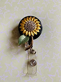 Sunflower Sun Flower Rhinestone Decorated Bling Badge Reel Holder Decorated Retractable Badge Reel ID Holder with Clip Backing