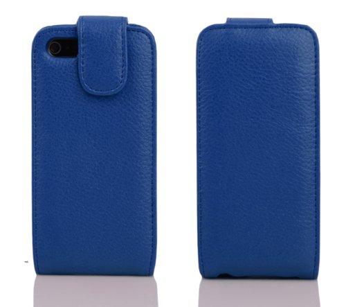 Cadorabo Funda para Apple iPhone 5 / iPhone 5S / iPhone SE in Azul ATLÁNTICO - Cubierta Proteccíon Estilo Flip con Tarjetero - Etui Case Cover Carcasa