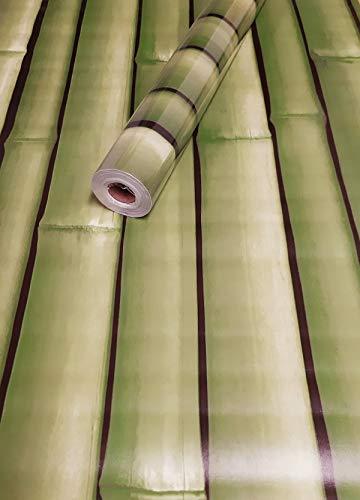 Visario Tapeten Folie 3000-S selbstklebend Bambus grün Dekor hell 10 m x 45 cm Dekorfolie Möbelfolie Tapete 3041
