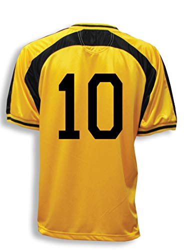 Old School Soccer/Football Jersey, Customized With Your Number On Back- size Adult L - color Gold/Black