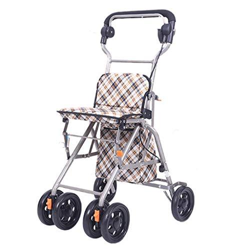 JALAL Allrad Rollator Shopping Trolley Walker aus klappbarem, leichtem Gehhilfesitz aus Aluminium mit Rückenlehne und Einkaufskorb