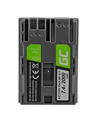 Green Cell® BP-508 BP-511 BP-511A BP-512 BP-514 Kamera-Akku für Canon EOS 5D 10D 20D 30D 40D 50D 300D D60 Powershot G1 G2 G3 G5 G6 Pro 1, Full Decoded (Li-Ion Zellen 1600mAh 7.4V)