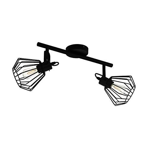 EGLO Deckenlampe Tabillano, 2 flammige Deckenleuchte Vintage, Industrial, Modern, Deckenstrahler aus Stahl, Wohnzimmerlampe in Schwarz, Küchenlampe, Spots mit E27 Fassung