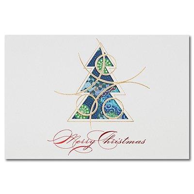 Wenskaarten voor Kerstmis inclusief enveloppen - set van 25, 50 of 100 - kerstkaart met dennenboommotief - feestelijke dubbele kaart in folie reliëf & hoogwaardige lasergesneden 100 Sets (Umschlag gold)