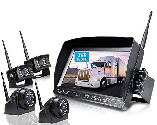 ZEROXCLUB 1080P Wireless Backup Camera System Kit, 7 Inch DVR Quad Split Monitor w/ IP69 Waterproof Wireless Reverse Rear Side View Camera with Stable Signal for RV/Truck/Trailer/Bus/Van, W704