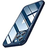 TENDLIN Crystal Clear Funda iPhone 13 Pro, Carcasa Protectora Anti Choques con PC Transparente Duro Panel Posterior y Marco de TPU Suave [Nunca-Amarillo] Slim Case - Azul
