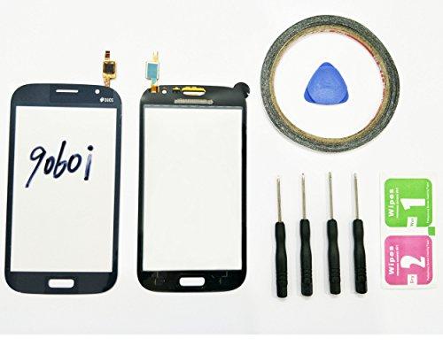 JRLinco per SAMSUNG GALAXY GRAND NEO 9060i Flexschermo di vetro, parte di ricambio display touchscreen ( senza LCD ) per nero+Attrezzi & Bi-Adesivo + pacchetto pulizia con alcool e asciugatura